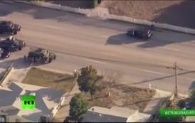 فيديو. لحظة مطاردة وقتل أحد الأمريكيين المتهمين باطلاق النار بكاليفورنيا