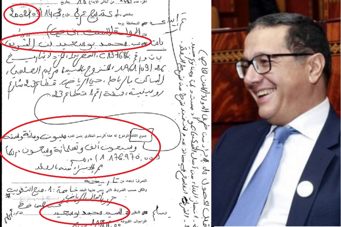 فضيحة مُدوية بالوثائق. الوزير 'بُوسعيد' استفاد من بقعة 3000متر بالرباط لبناء فيلا بـ350درهم للمتر