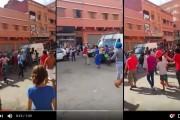 فيديو . فتيات يعربدن وسط الشارع العام و يهاجمن سيارة للشرطة
