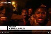 فيديو . مهاجرون أفارقة يحتفلون بالوصول إلى سبتة بعد اقتحام السياج الحديدي