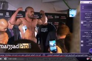 فيديو . بدر هاري يستعرض عضلاته أمام منافسه الهولندي قبل النزال الأخير
