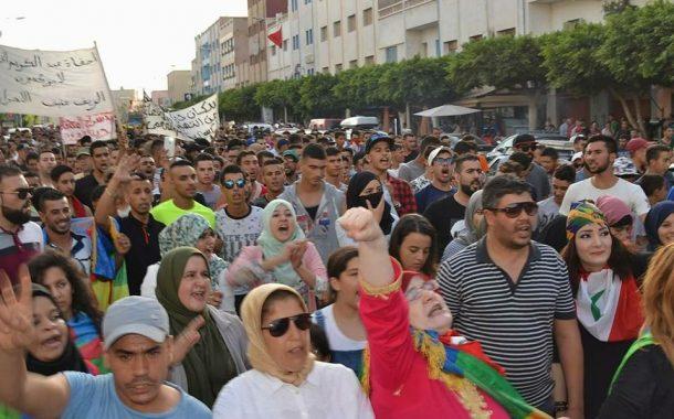 صور. مسيرة باقليم الناظور تضامناً مع معتقلي الحسيمة وسط غياب للأمن