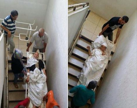 حمل المرضى عبر الأدراج في مستشفى الناظور يثير سخط المواطنين