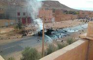 صور | انفجار مهول لشاحنة محملة بقنينات الغاز يثير الهلع وسط ساكنة تنغير