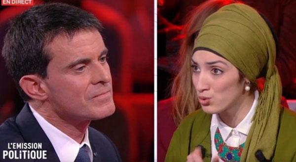 بالفيديو . جدل بفرنسا حول تصريحات 'فالس' ضد الحجاب في مواجهة تلفزية مع محجبة مغربية