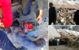 فيديو . سقوط جدار ضخم على مواطنين وسط الدار البيضاء يوقع ضحايا