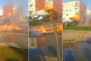 فيديو . النيران تلتهم شاحنة محملة بالتبن في عين عودة