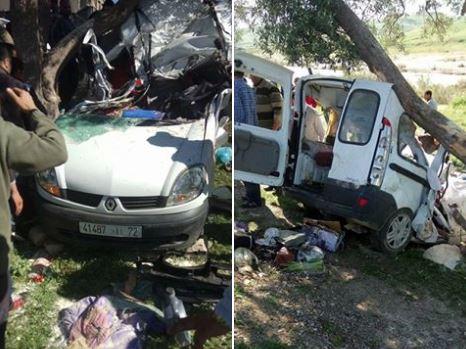 مصرع 4 أشخاص من أسرة واحدة بينهم طفلين في حادثة سير مروعة بين فاس و تاونات