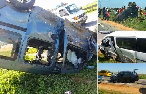 صور | 17 جريحاً في حادث اصطدام 4 سيارات بـ 'سيدي علال التازي' !