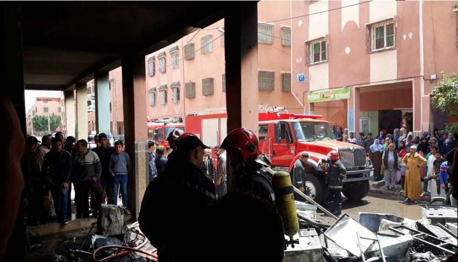 صور   اندلاع حريق مهول في محل لإصلاح الثلاجات بمراكش