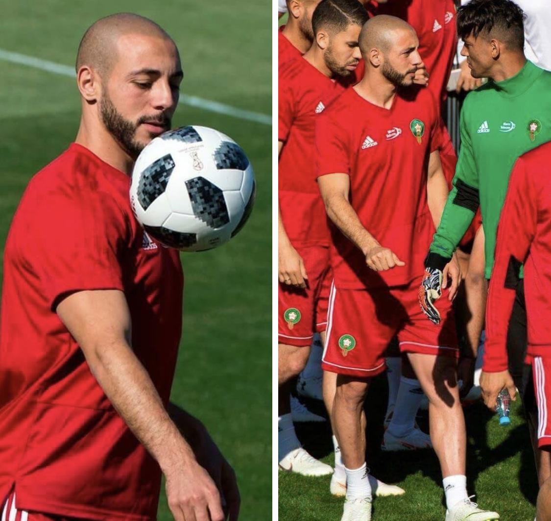 صور/ أمرابط يتدربُ بشكل عادي مع لاعبي المنتخب قبل التوجه لموسكو لمواجهة البرتغال