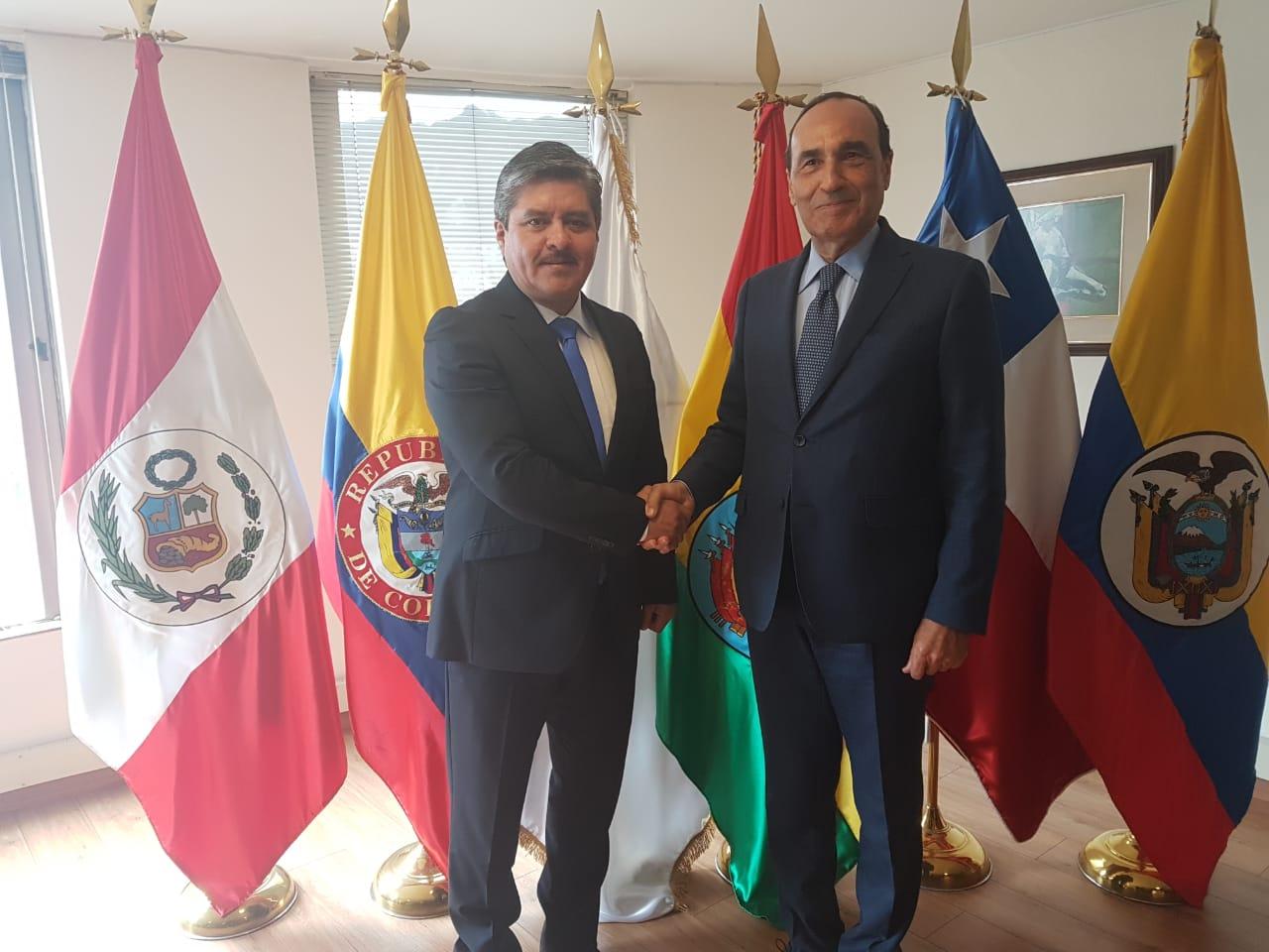 شي خدام وشي مفطح فماربيا/الحبيب المالكي يعقد جلسة عمل مع رئيس برلمان الأنديز بكولومبيا