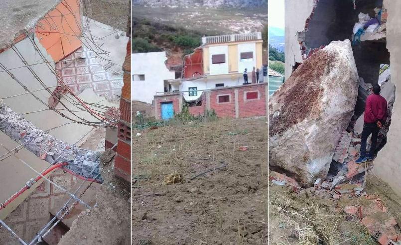 صور/ سقوط حجارة عملاقة من جبل بشفشاون يحطم منزلاً و سكان ينجون من موت محقق !