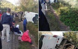 صور و فيديو/ سقوط جرحى في حادث انقلاب حافلة لنقل الركاب بين وزان وشفشاون !
