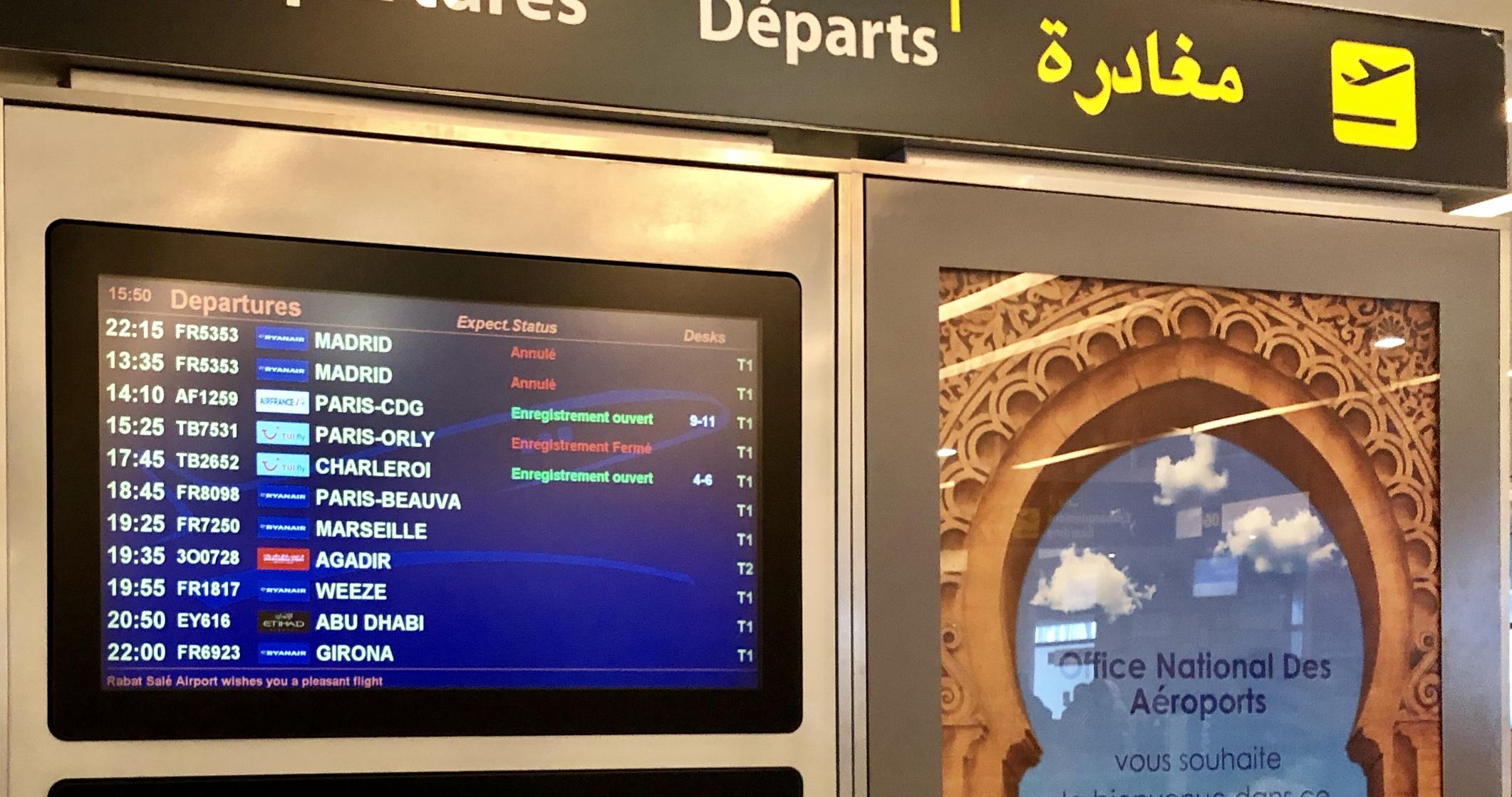 إلغاء إقلاع وهبوط عدة رحلات بمطار الرباط بسبب الضباب