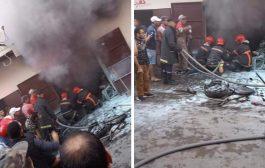 صور/إصابات في إندلاع حريق بورشة لطلاء السيارات بالعيون