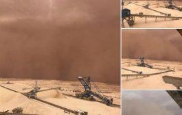 صور/ عاصفة رملية عملاقة تجتاح العيون !
