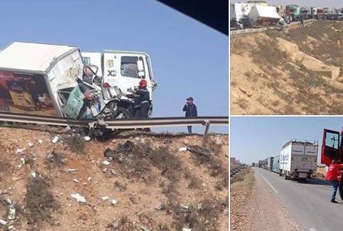 صور/ مقتل سائق شاحنة في حادثة سير مروعة أغلقت طريقاً وطنية بتزنيت !