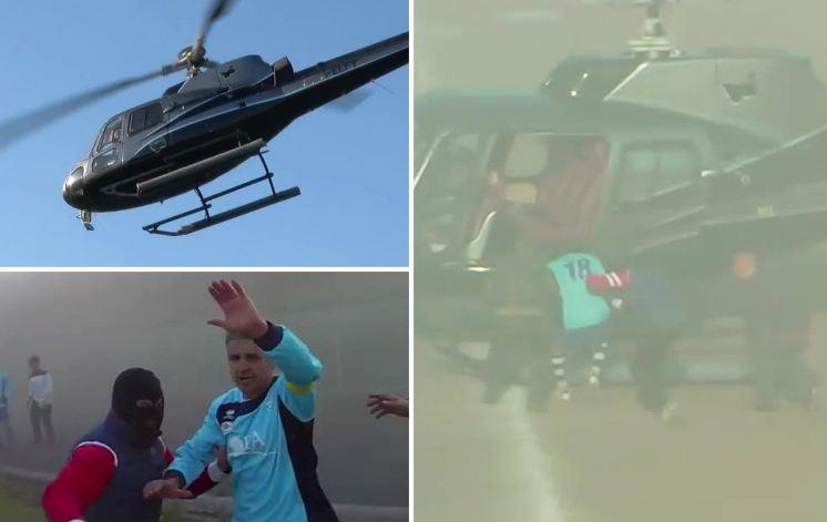 صور وفيديو/ ملثمون يختطفون لاعباً إيطالياً من وسط الملعب باستعمال هيلوكبتر !