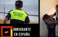 فيديو | شرطي إسباني يعتدي بوحشية على شاب مغربي !