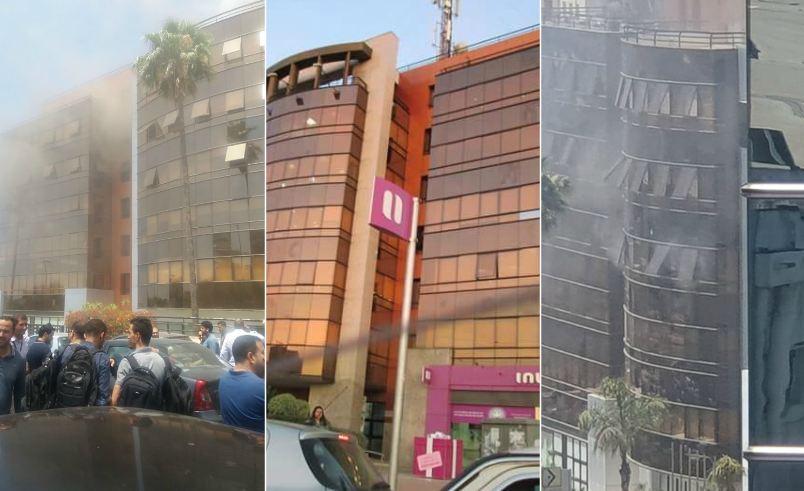 """فيديو : حريق مهول يلتهم مقر """"إنوي"""" بالدار البيضاء"""