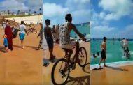 فيديو | شاب يرتمي بدراجته في مسبح الرباط الكبير ساعات بعد افتتاحه !