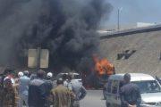 فيديو | حريق مهول يلتهم سيارة للنقل المزدوج قرب كلية تازة !