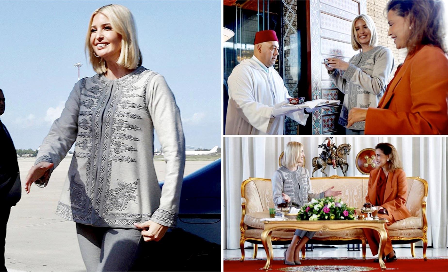 صور/إيفانكا ترامب تحُل بالمغرب بزي تقليدي لمُصممة أزياء سلاوية