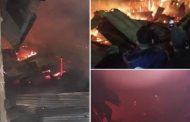 فيديو/ حريق مهول يدمر سوقاً عشوائياً بالقصر الكبير !