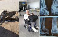 صور/ سائح إيطالي يعود إلى بلاده على كرسي متحرك بعد سقوطه في حفرة بأكادير !